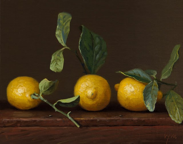 """Still life of Three Lemons with Leaves"" original fine art by Abbey Ryan"