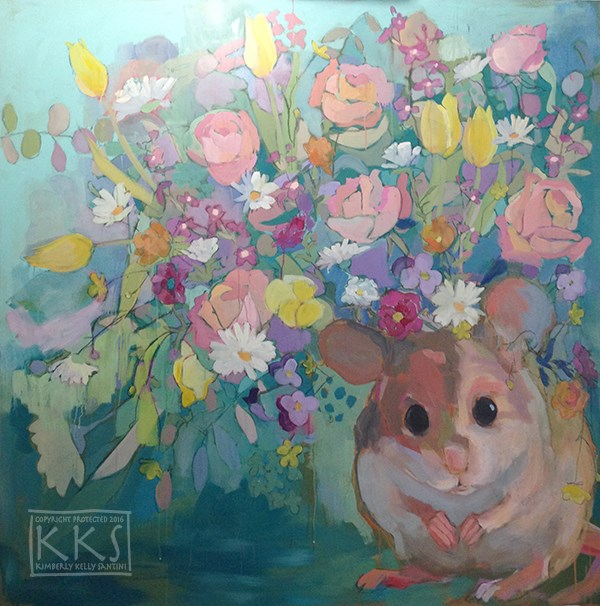 """Squeaker, in process"" original fine art by Kimberly Santini"