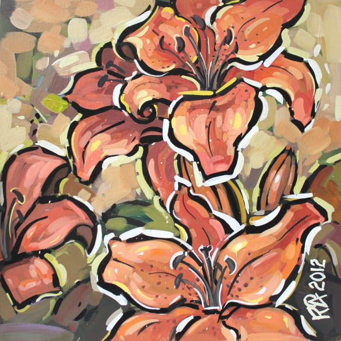 """""""Tiger Lily abstraction 1"""" original fine art by Roger Akesson"""