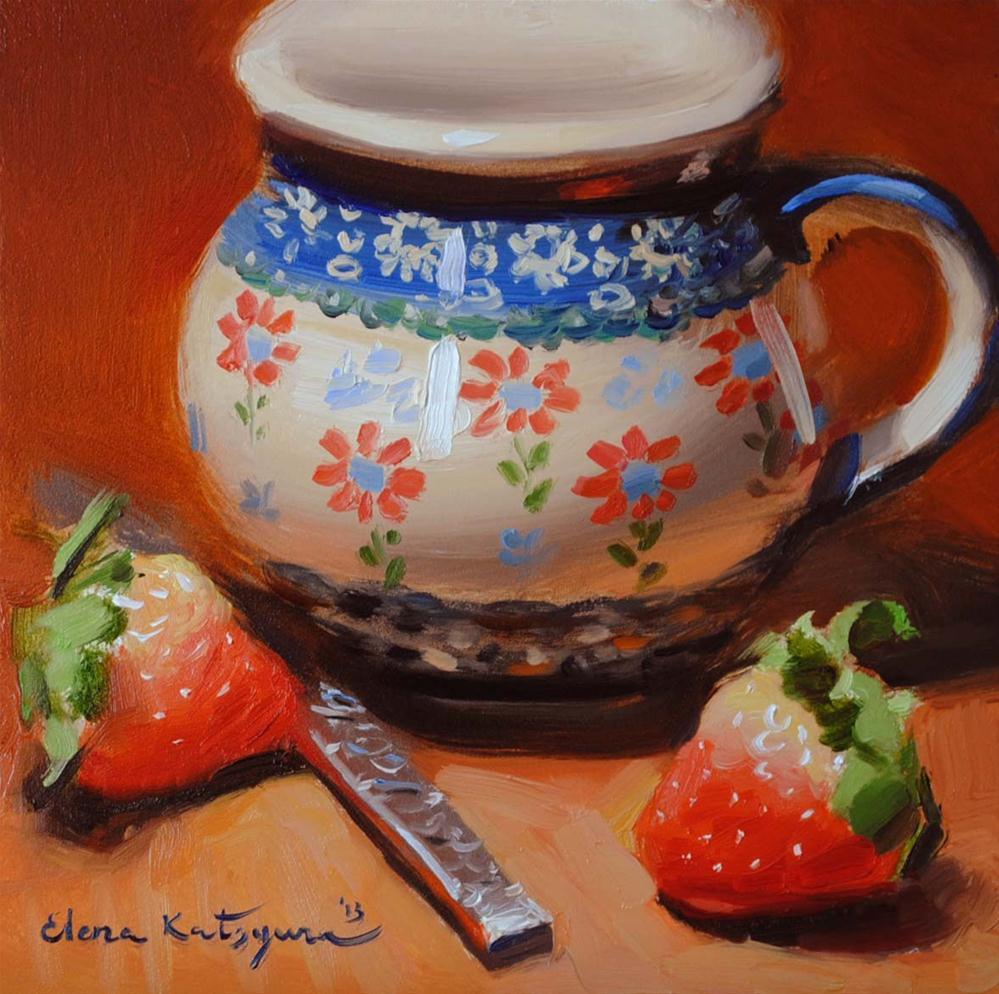 """Jug and Strawberries"" original fine art by Elena Katsyura"