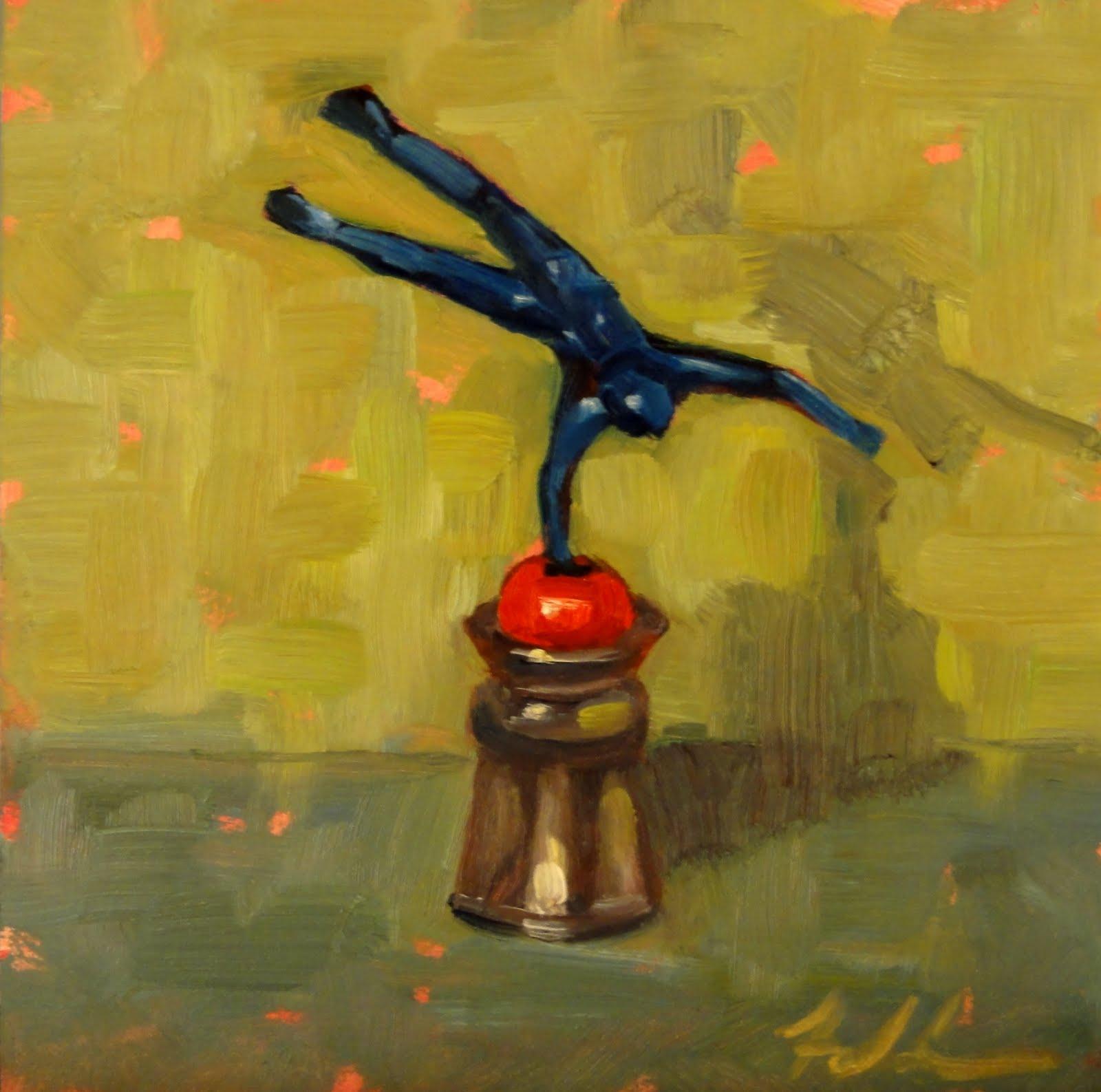 """The Balancing Act II, 6x6"" original fine art by Ann Feldman"
