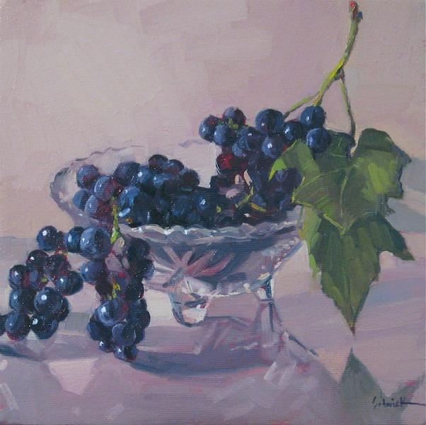 """Oregon Pinot Noir Grapes"" original fine art by Sarah Sedwick"
