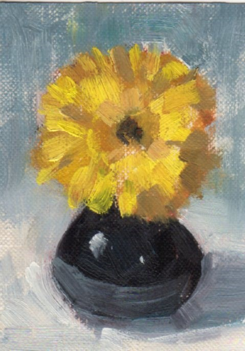 """Yellow Flower in a Dark Vase"" original fine art by Marlene Lee"
