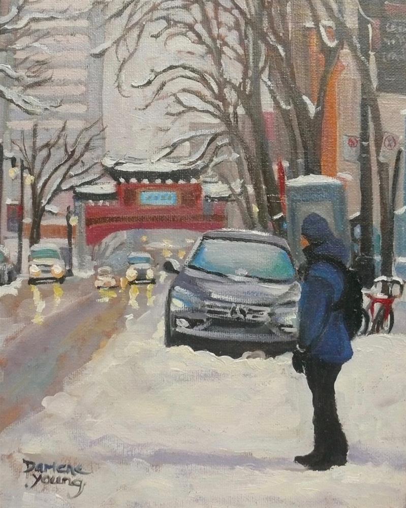 """989 Montreal Street Scene, Chinatown, 8x10, oil on board"" original fine art by Darlene Young"