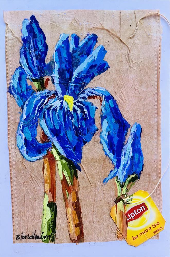 """Tea Bag Painting Irises"" original fine art by Linda Blondheim"