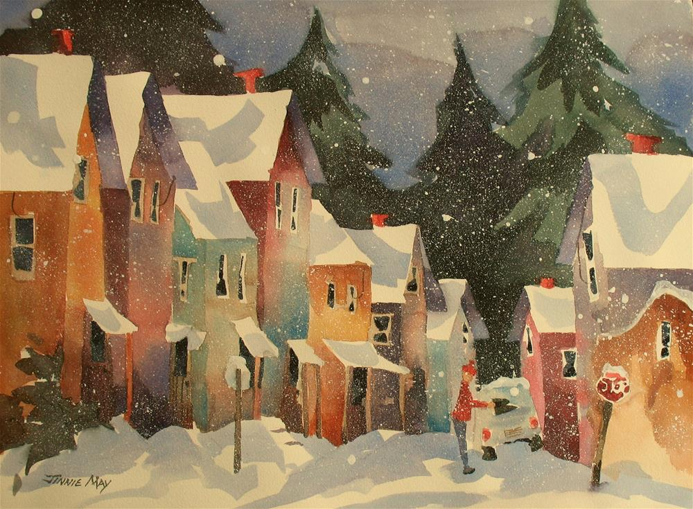 """""""Rockland ME in Winter"""" original fine art by Jinnie May"""