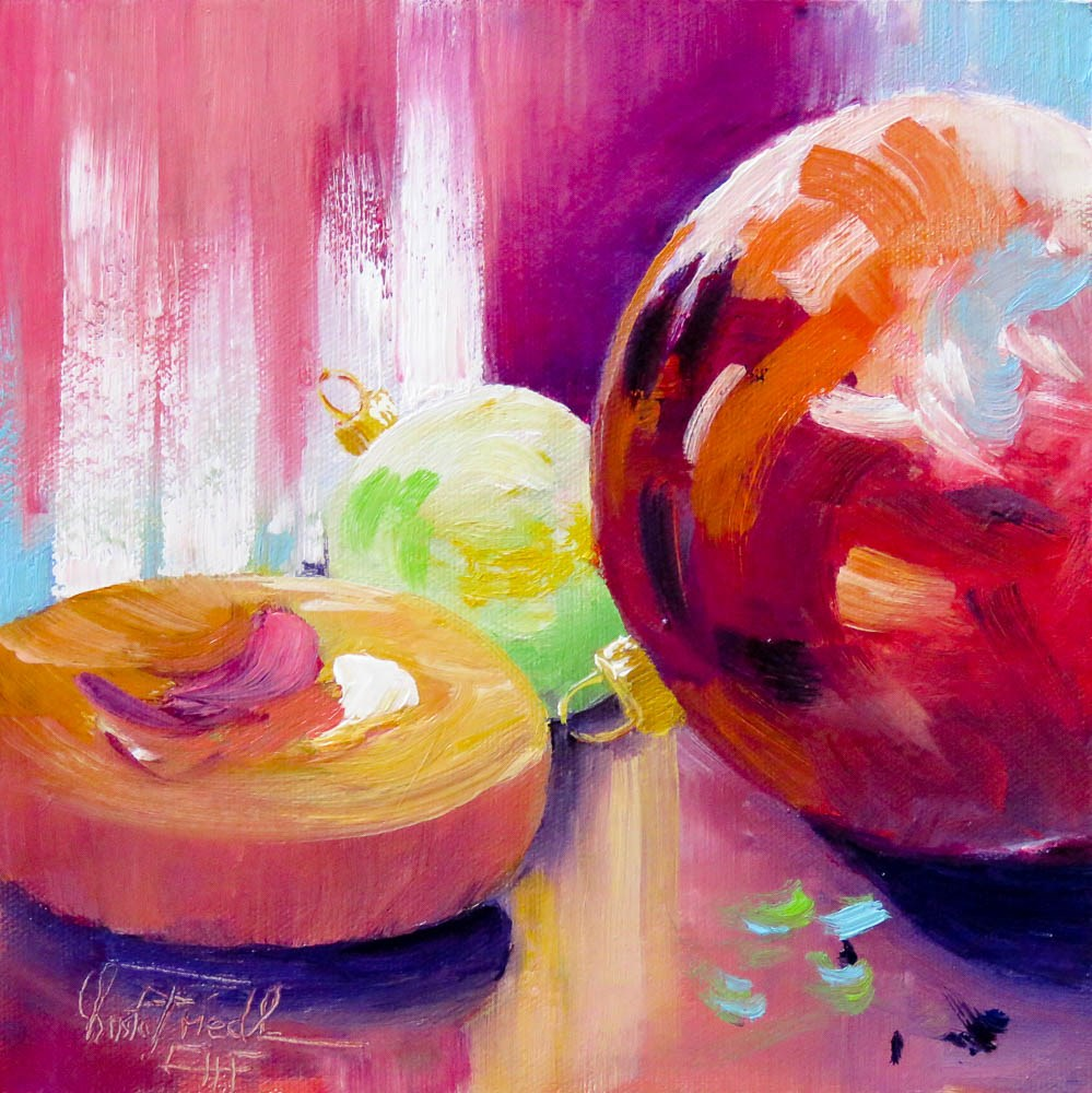 """Christmas balls and cookie"" original fine art by Christa Friedl"