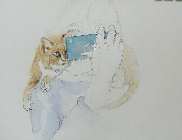 """""""Cat selfie"""" original fine art by Mitsuru Cope"""