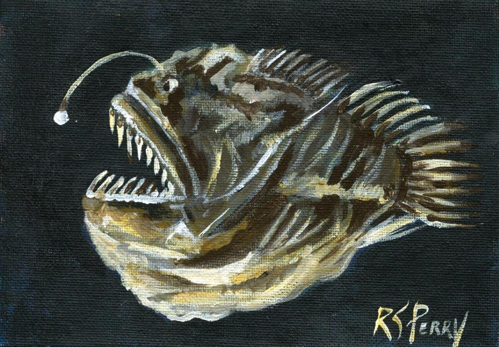 """Angler fish (melanocetus murrayi)"" original fine art by R. S. Perry"