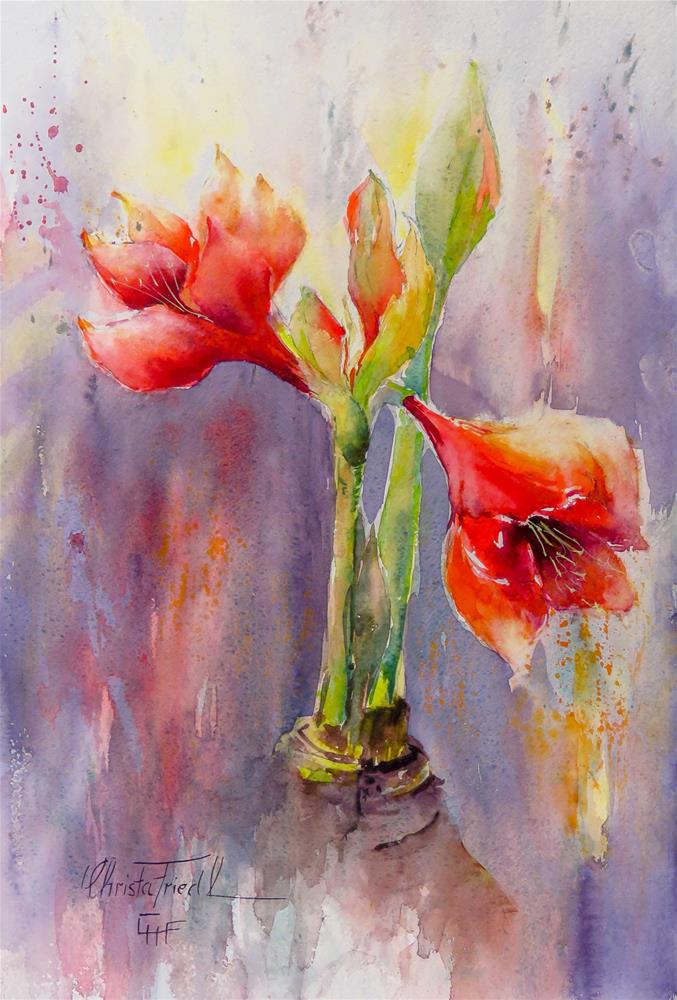 """Amaryllis"" original fine art by Christa Friedl"