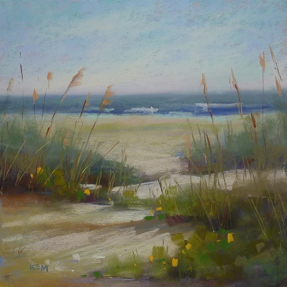 """""""D is for Demo Day...Pastel Beach Painting"""" original fine art by Karen Margulis"""