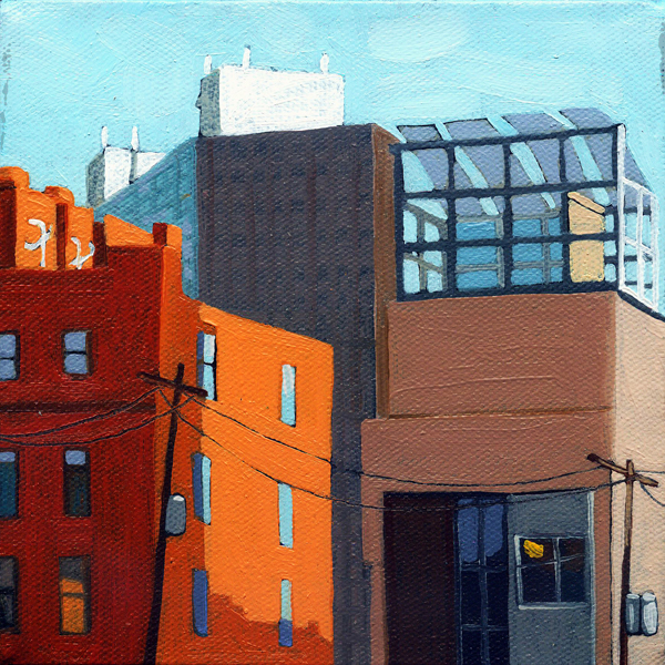 """City Skyline - urban cityscape Columbus Ohio"" original fine art by Linda Apple"