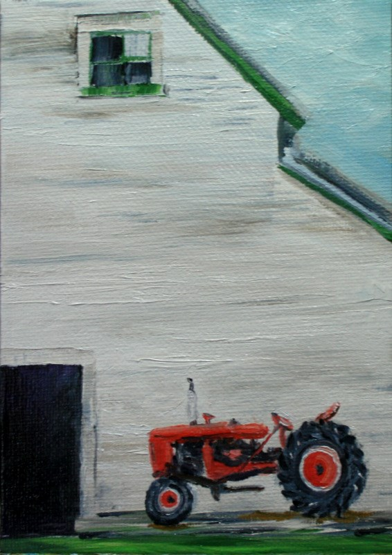 """""""White Barn With Red Tractor"""" original fine art by Jean Nelson"""