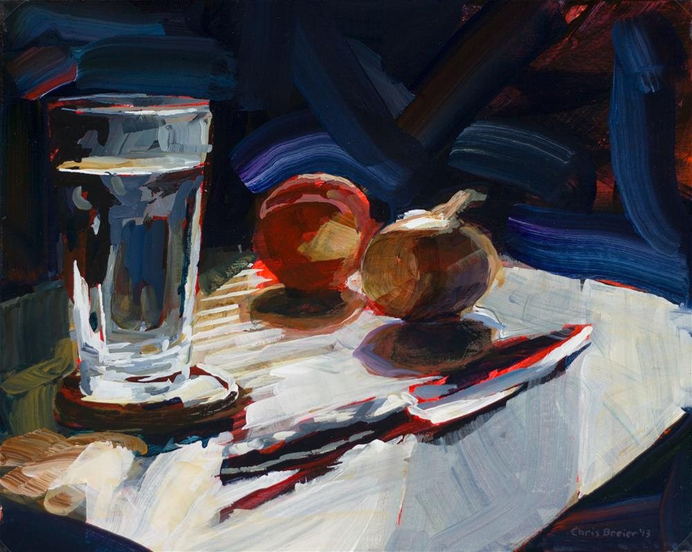 """Water, onion, peach, knife"" original fine art by Chris Breier"