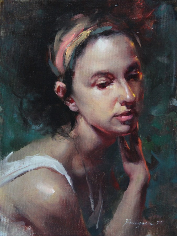 """""""Small Painting - Lost in Thought"""" original fine art by Fongwei Liu"""