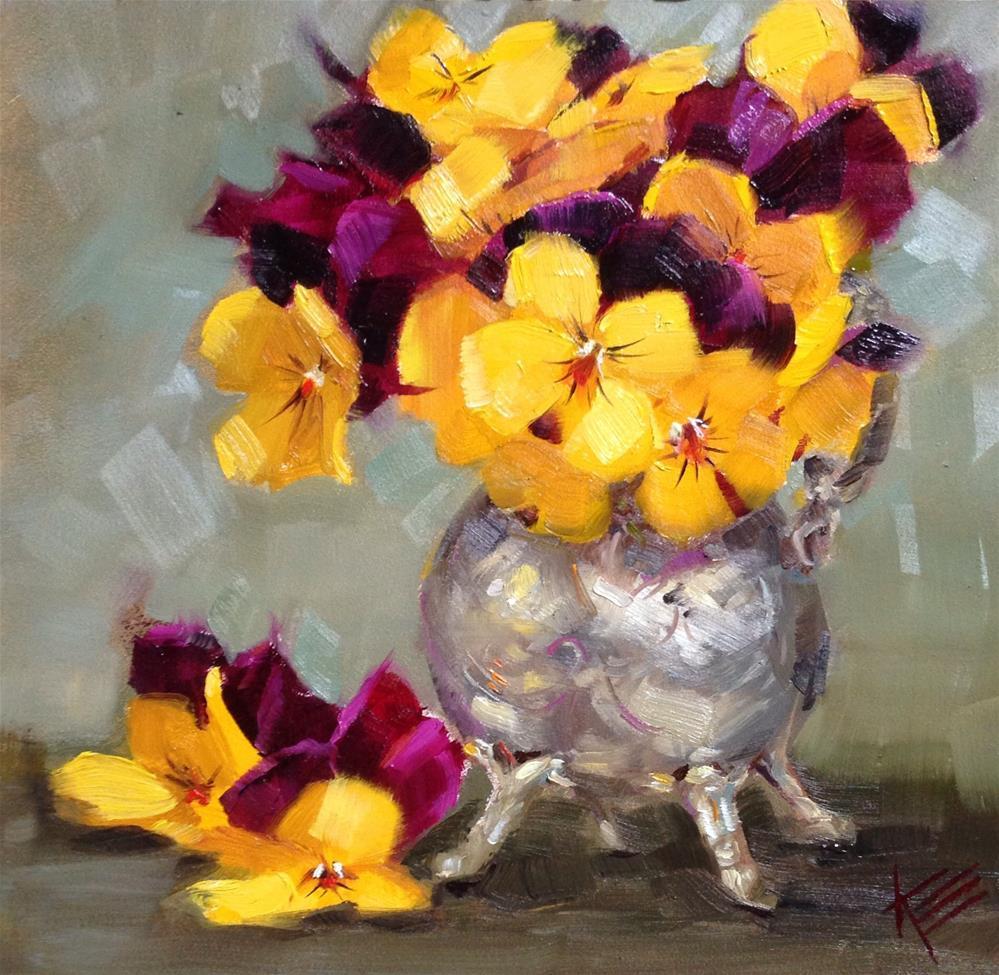 """Purple & Yellow in Silver"" original fine art by Krista Eaton"