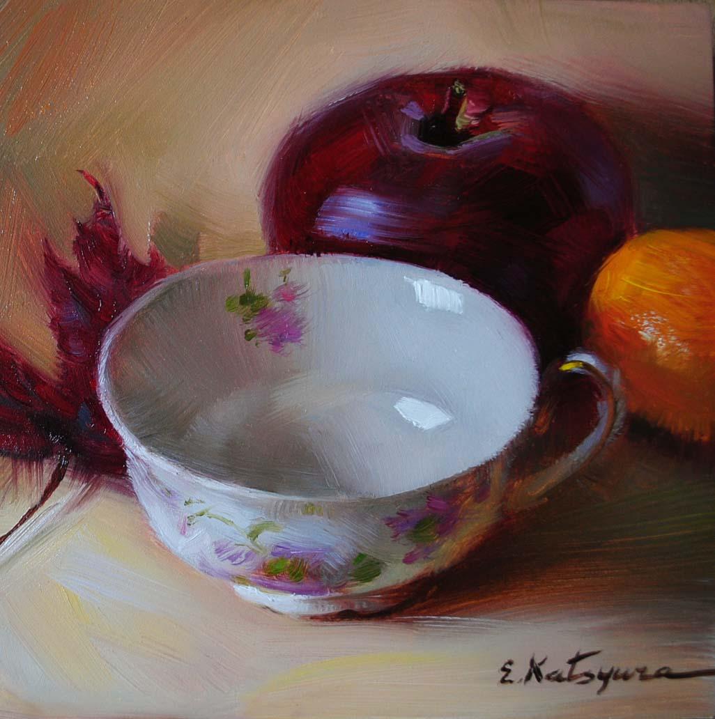 """Teacup & Apple"" original fine art by Elena Katsyura"