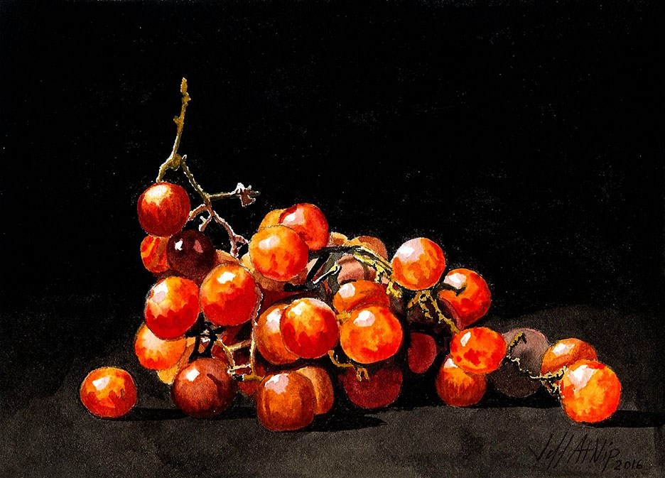 """Red Grapes 2"" original fine art by Jeff Atnip"
