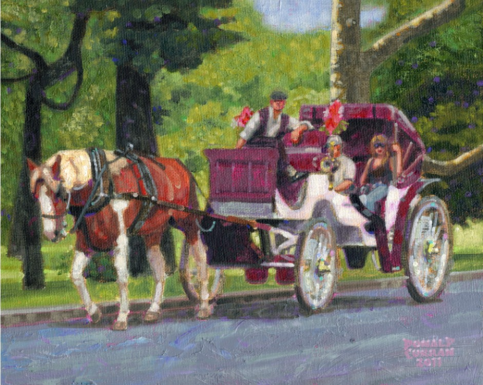 """Central Park Carriage Ride"" original fine art by Donald Curran"