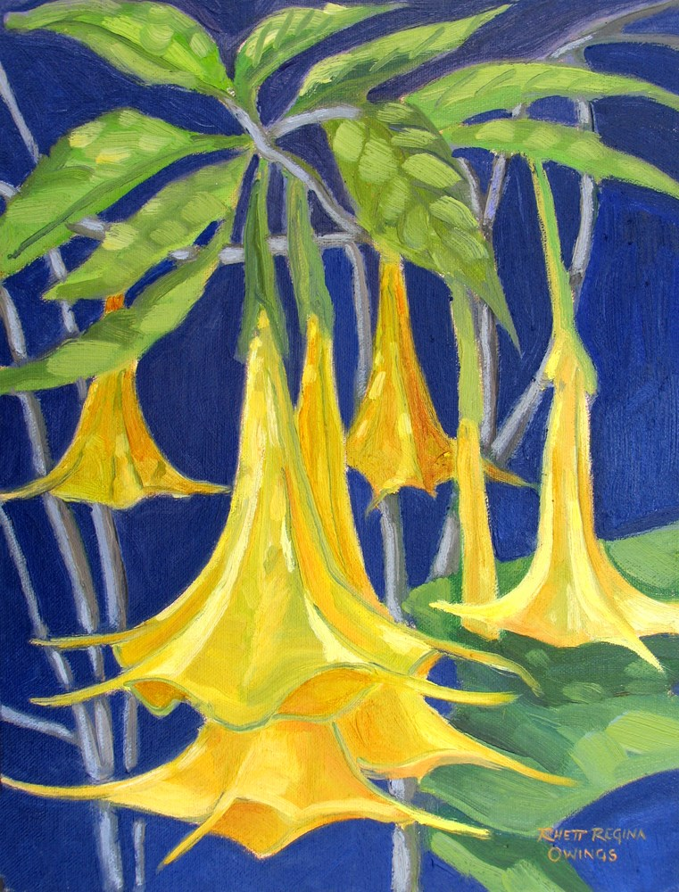 """Angel Trumpets"" original fine art by Rhett Regina Owings"
