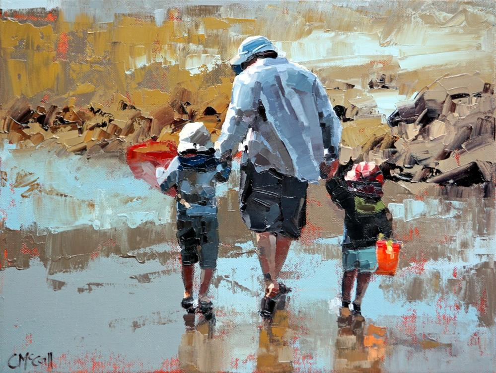 """""""Dad & The Boys III"""" original fine art by Claire McCall"""