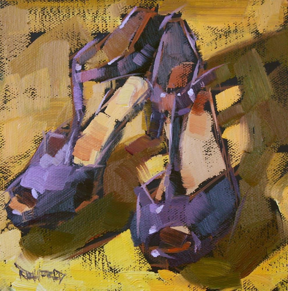 """Shoe Fiend! #5 Purple and Yellow"" original fine art by Cathleen Rehfeld"