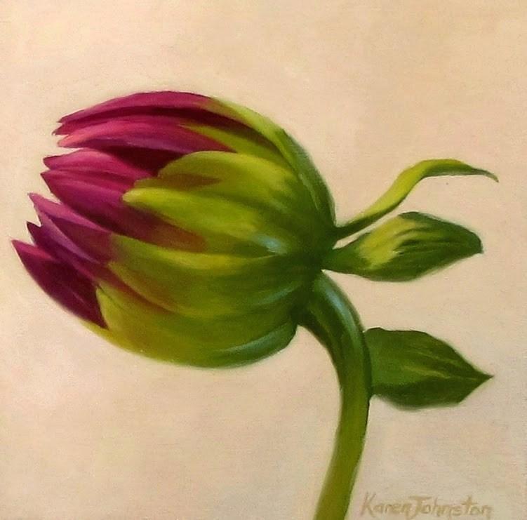"""Dahlia Bud"" original fine art by Karen Johnston"