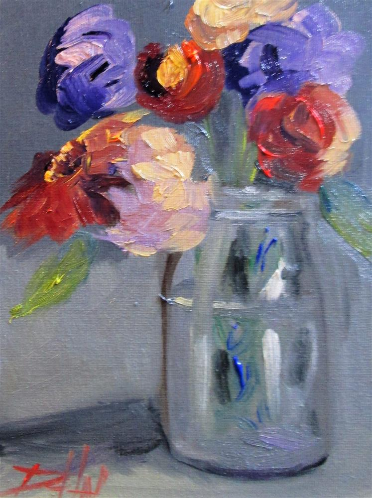 """Jar of Fresh Flowers"" original fine art by Delilah Smith"