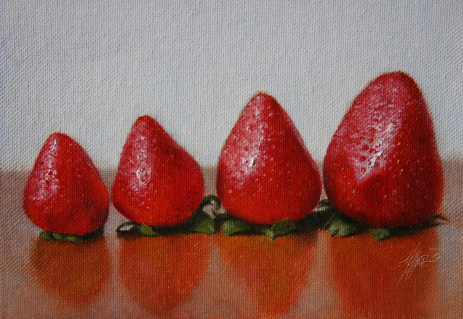 """""""Strawberries Aligned"""" original fine art by Jonathan Aller"""