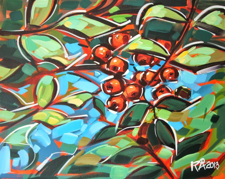 """Rowan berries 16"" original fine art by Roger Akesson"