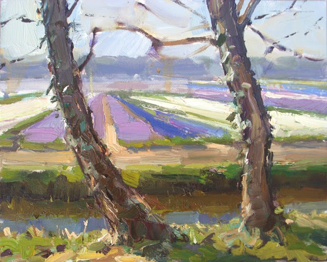 """""""Landscape spring #4 Purple and white field and ivy-grown trees"""" original fine art by Roos Schuring"""