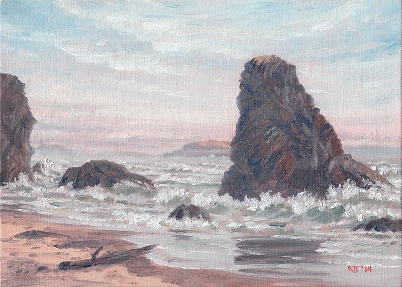 """C1556 - High Tide & Fogbanks"" original fine art by Steven Thor Johanneson"
