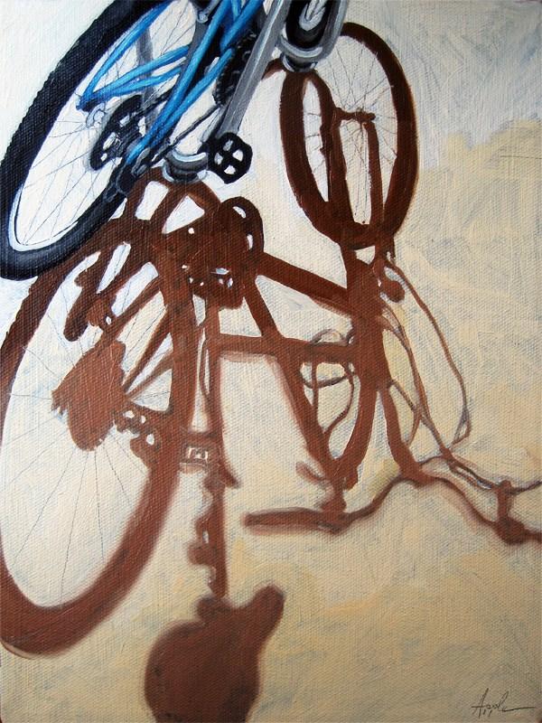 """Afternoon Light - bicycle art"" original fine art by Linda Apple"