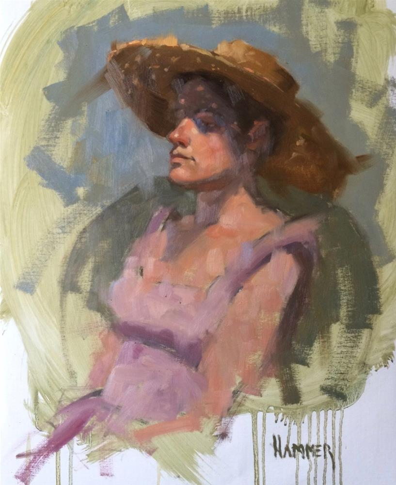 """Lilac Sundress 14in x 18in oil"" original fine art by Claudia Hammer"