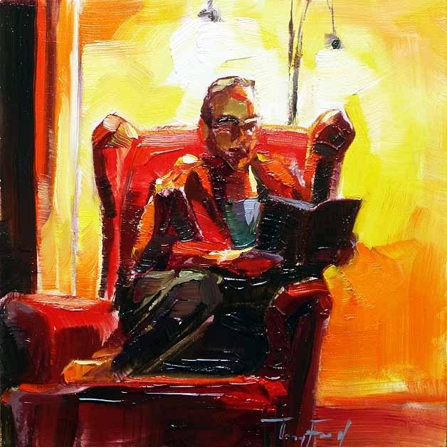 """lesende"" original fine art by Jurij Frey"