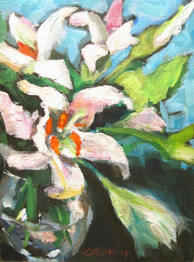 """280.  White Lilies"" original fine art by Diane Campion"