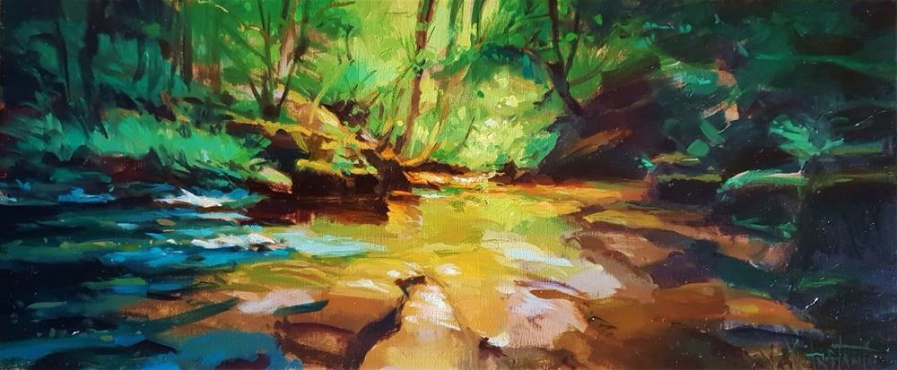 """""""Lights in the river"""" original fine art by Víctor Tristante"""