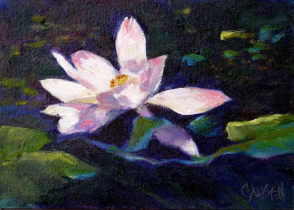 """""""Waterlily, 7x5 Oil on Canvas"""" original fine art by Carmen Beecher"""