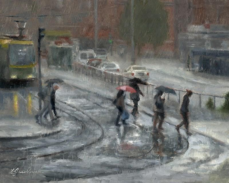 """The Pink Umbrella"" original fine art by Linda Jacobus"