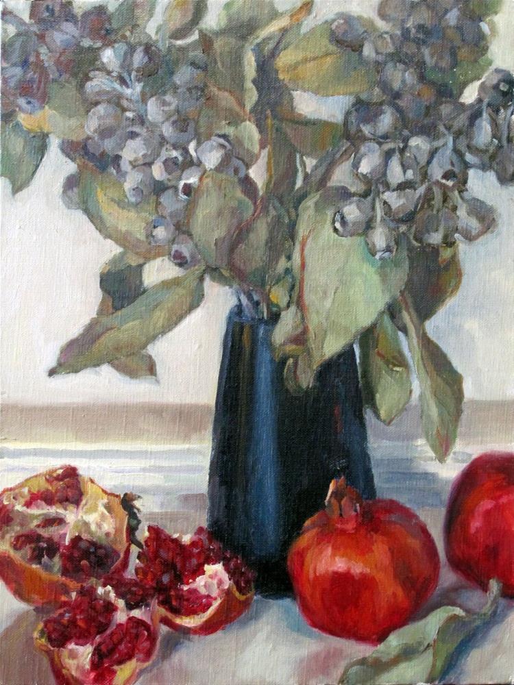 """Gumnuts and Pomegranates"" original fine art by Myriam Kin-Yee"