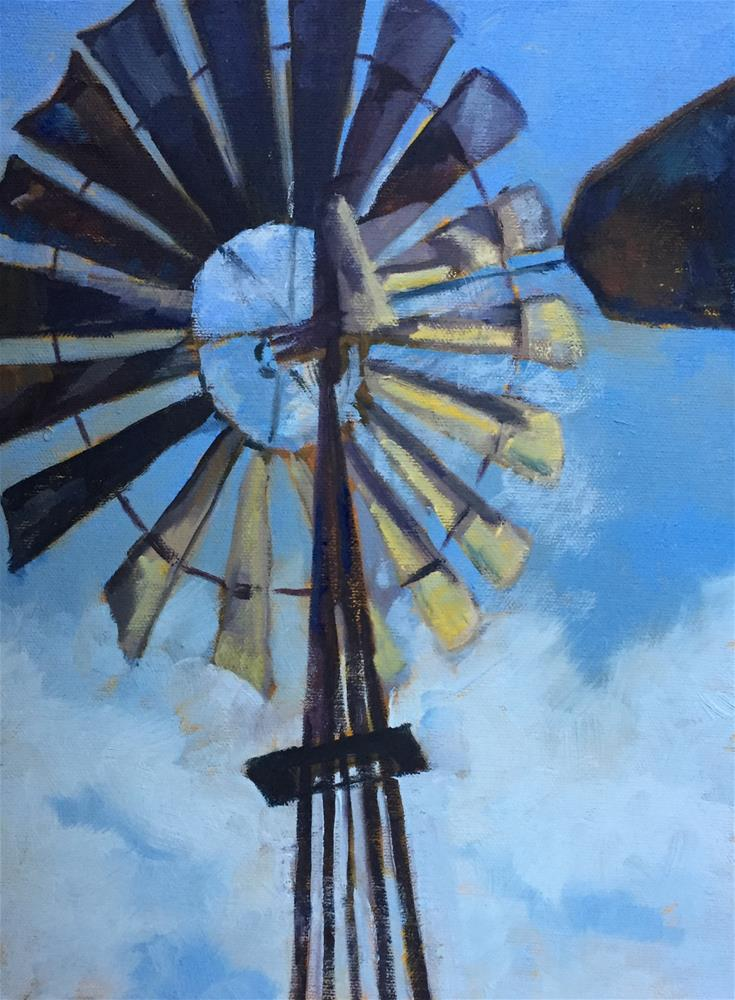 """""""Windmill On the Plains"""" original fine art by Pam Holnback"""