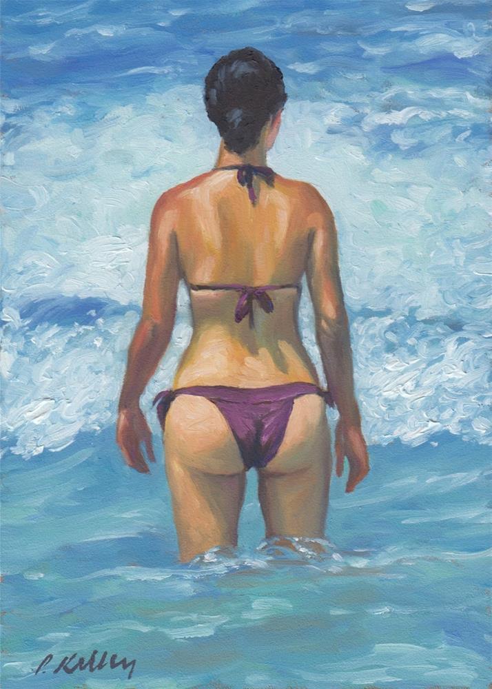 """Woman in the Waves"" original fine art by Pat Kelley"