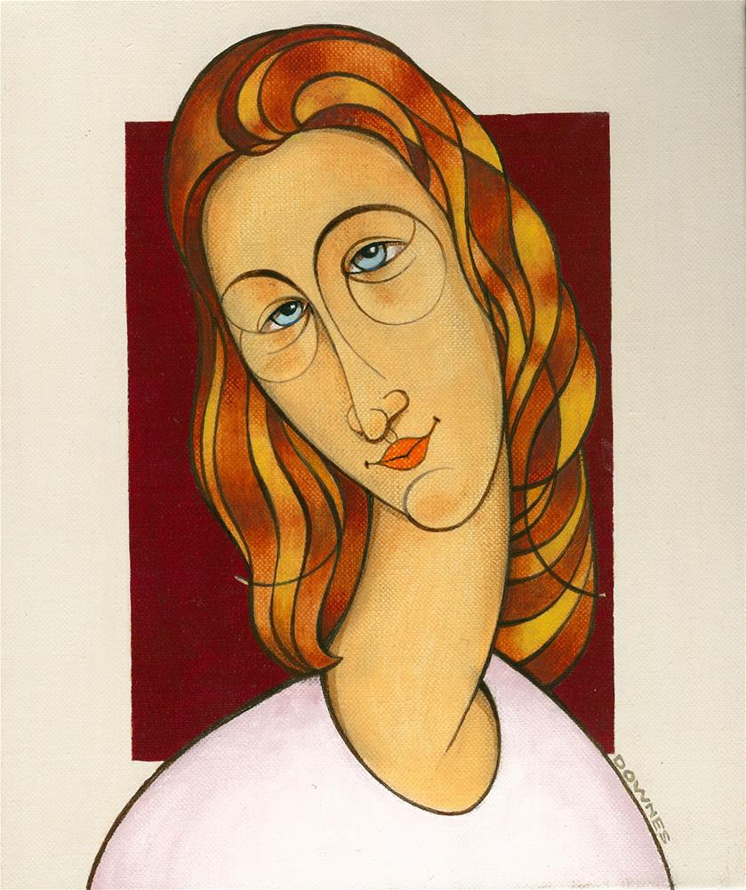 """142 MOD GIRL 1"" original fine art by Trevor Downes"