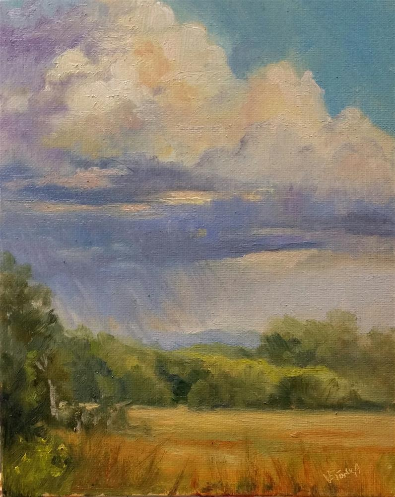 """Storm clouds en plein air"" original fine art by Veronica Brown"