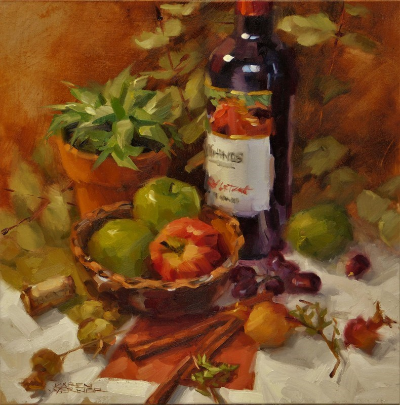 """Apples & Wine"" original fine art by Karen Werner"