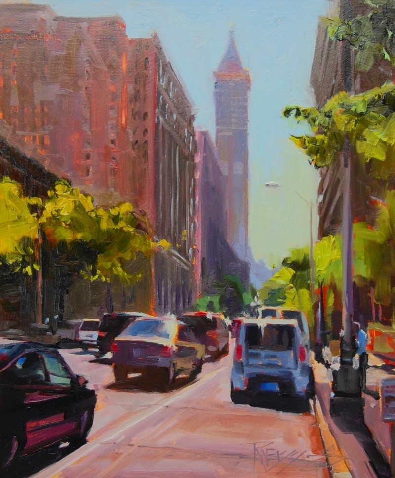 """""""Smith Tower Morning  Seattle, cityscape, oil painting by Robin Weiss"""" original fine art by Robin Weiss"""