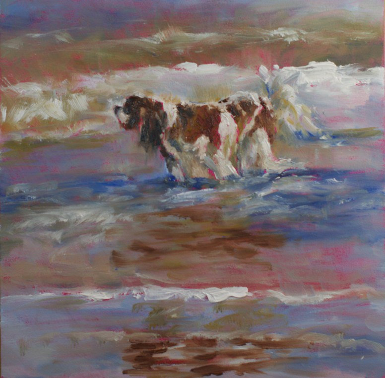 """""""Dog at the Beach #2"""" original fine art by Sue Churchgrant"""