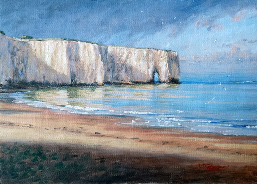 """C1621 ""The Calm before the Storm …Gulls Rising over Kingsgate Bay"" (Isle of Thanet, Kent, England)"" original fine art by Steven Thor Johanneson"