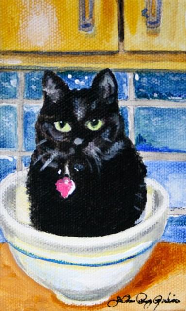 """Kitty Bowl"" original fine art by JoAnne Perez Robinson"