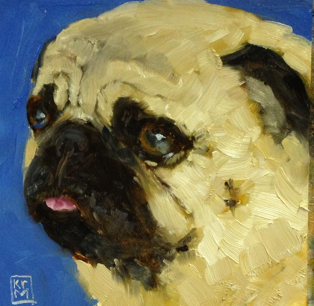 """Cat'll Get Your Tongue! 6x6 Inch Oil Painting of a Pug by Kelley MacDonald"" original fine art by Kelley MacDonald"